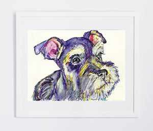 Schnauzer dog Gift, Dog Painting, wall art Print, Watercolor, acrylic miniature schnauzer painting 8x10, 11x14,schnauzer dog art print - Dog portraits by Oscar Jetson
