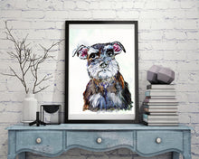 Load image into Gallery viewer, Schnauzer art print, Schnauzer wall art, Schnauzer mom, Schanuzer gift, Dog art,schnauzer painting, Schnauzer decor,Schnauzer wall art print - Dog portraits by Oscar Jetson