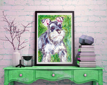 Load image into Gallery viewer, Schnauzer painting, dog Painting, Schnauzer  Print , watercolor, art  print, Schnauzer Dog Art, 8x10, 11x14 wall art print - Dog portraits by Oscar Jetson