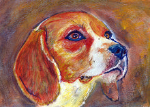 Load image into Gallery viewer, Beagle Painting Print, Beagle dog art, Colorful Beagle, watercolor, tricolor beagle , beagle dog portrait, gift for beagle owner - Dog portraits by Oscar Jetson