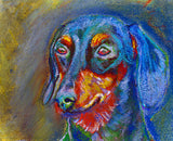 Dachshund Painting Print, Doxie, dog art, Colorful Dachshund, watercolor, acrylic and pastel Dachshund portrait fine art print dog wall art - Dog portraits by Oscar Jetson