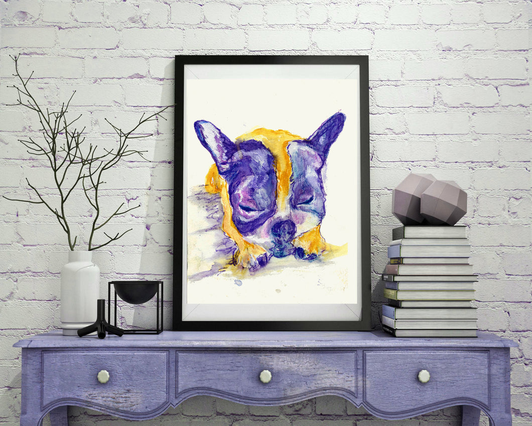 French Bulldog Painting art print, yellow and Lilac, French Bulldog Print,watercolor art, Bulldog owner gift, French Bulldog giclee print - Dog portraits by Oscar Jetson