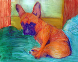 French Bulldog Dog art colorful, French Bulldog painting, wall art print, watercolor Frenchie french bulldog gift, french bulldog art print - Dog portraits by Oscar Jetson