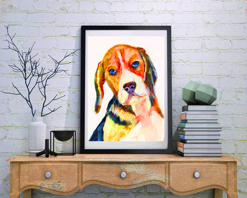 Beagles gift idea,beagle art print,beagle wall art, beagle picture, beagle painting, abstract expressive beagle,beagle watercolor print - Dog portraits by Oscar Jetson