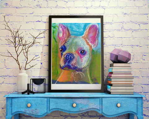 French Bulldog decor, Gift for frenchie owner, colorful wall art print, Frenchie decor, pet loss gift, French bulldog picture art print - Dog portraits by Oscar Jetson - 1