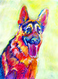 German Shepherd Dog Painting Red, Yellow, Blue Alsatian Print , watercolor art  print GSD Dog Art german shepherd gift idea dog art print - Dog portraits by Oscar Jetson
