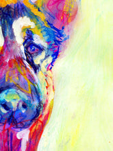 Load image into Gallery viewer, German Shepherd Dog Painting Red, Yellow, Blue Alsatian Print , watercolor art  print GSD Dog Art german shepherd gift idea dog art print - Dog portraits by Oscar Jetson