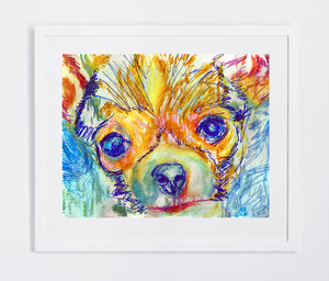 Colorful Chihuahua Painting print, Abstract Cihuahua painting, watercolor art print,Chihuahua Dog picture,Chihuahua portrait dog art print - Dog portraits by Oscar Jetson