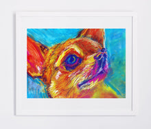 Load image into Gallery viewer, Chihuahua Dog Painting Orange, Chihuahua dog Print , watercolor art print Chihuahuas Dog Art Portrait Chihuhua gift idea dog painting print - Dog portraits by Oscar Jetson