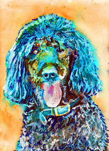 Standard Poodle Dog Painting,Poodle owner gift,watercolor dog art,Aqua marine poodle,Poodle Dog Art, Poodle gift idea, Poodle art print - Dog portraits by Oscar Jetson - 1