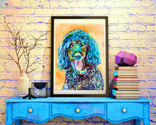 Load image into Gallery viewer, Standard Poodle Dog Painting,Poodle owner gift,watercolor dog art,Aqua marine poodle,Poodle Dog Art, Poodle gift idea, Poodle art print - Dog portraits by Oscar Jetson