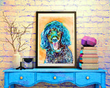 Standard Poodle Dog Painting,Poodle owner gift,watercolor dog art,Aqua marine poodle,Poodle Dog Art, Poodle gift idea, Poodle art print - Dog portraits by Oscar Jetson - 2