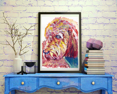 Poodle Painting,Dog art print, Poodle owner gift,watercolor dog art, Earth tones poodle,Poodle Dog Art, Poodle gift idea,Poodle wall art - Dog portraits by Oscar Jetson - 1