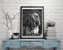 Load image into Gallery viewer, Black lab, Labrador drawing, Charcoal art print, Dog portrait, Labrador dog gift, Lab picture,dog wall art, Lab dog gift Labrador print - Dog portraits by Oscar Jetson