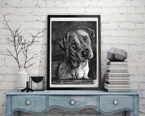 Black lab, Labrador drawing, Charcoal art print, Dog portrait, Labrador dog gift, Lab picture,dog wall art, Lab dog gift Labrador print - Dog portraits by Oscar Jetson