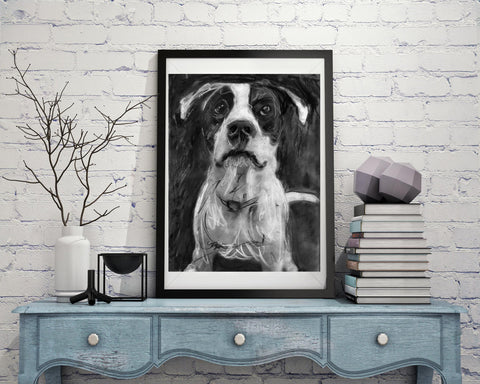 American staffordshire terrier Gift, dog drawing, Charcoal art portrait,American Staffie, staffy picture, Staff terrier dog gift art print - Dog portraits by Oscar Jetson - 1