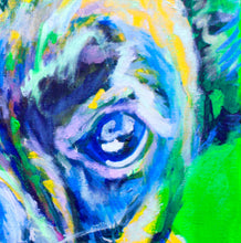 Load image into Gallery viewer, Colorful Boxer dog painting art print,Dog Portrait, Midnight blue, lilac yellow Print of acrylic dog painting, gift for Boxer dog owner - Dog portraits by Oscar Jetson