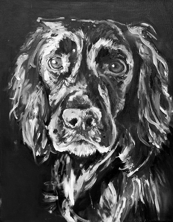 Working Cocker Spaniel Painting Print, black and white cocker Print ,dog portrait  English cocker spaniel gift idea Cocker spaniel art print - Dog portraits by Oscar Jetson