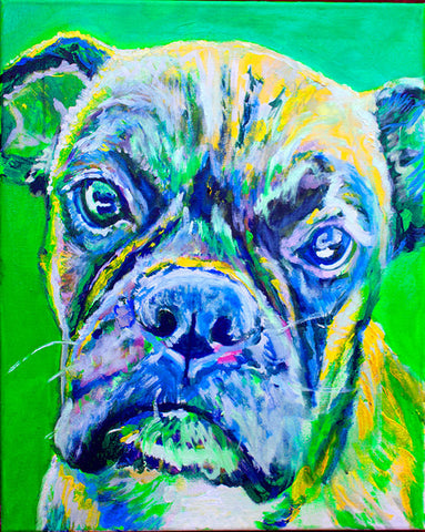 Colorful Boxer dog painting art print,Dog Portrait, Midnight blue, lilac yellow Print of acrylic dog painting, gift for Boxer dog owner - Dog portraits by Oscar Jetson
