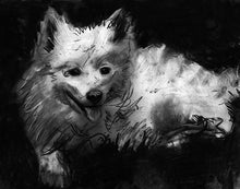 Load image into Gallery viewer, American eskimo dog gift, Charcoal Eskimo dog drawing,black and white dog art, Giclee dog print,Eskimo dog portrait, dog wall art print - Dog portraits by Oscar Jetson