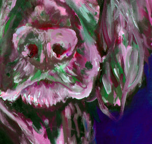 Cocker spaniel dog Painting Pink and Green working cocker fine art print - Dog portraits by Oscar Jetson