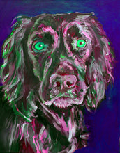 Load image into Gallery viewer, Cocker spaniel dog Painting Pink and Green working cocker fine art print - Dog portraits by Oscar Jetson