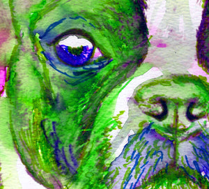Boston Terrier Gift dog Painting Pink and green , Boston Terrier Print , watercolor Boston terrier Dog Art gift idea boston bull art print - Dog portraits by Oscar Jetson