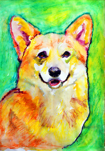 Corgi Dog Painting Orange, Yellow Corgi Print , watercolor and ink art  print Corgi Dog Art Corgi gift idea welsh corgi wall art print - Dog portraits by Oscar Jetson