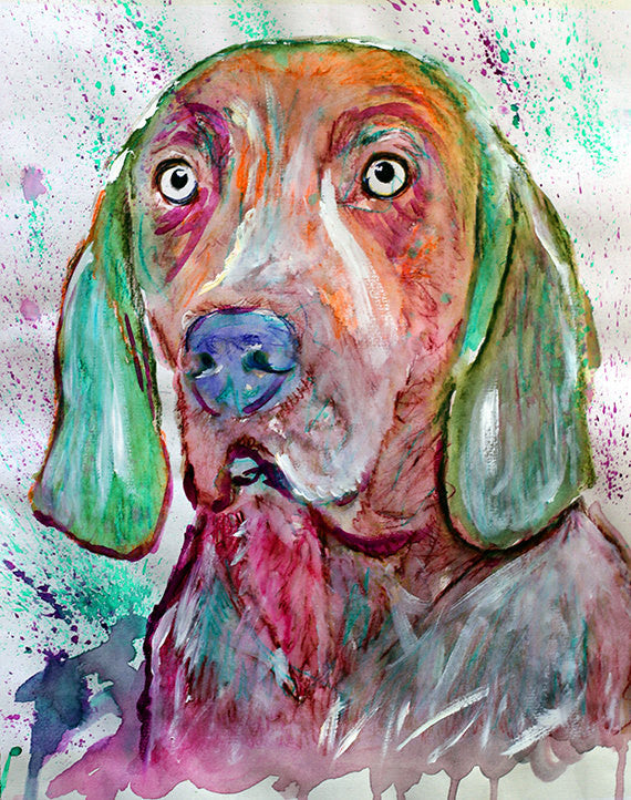 Weimaraner dog Painting Red and Aqua Marine watercolor art print - Dog portraits by Oscar Jetson