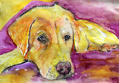 Labrador, Dog Painting, Yellow dog, Labrador Print , fine art print, Dog Art Labrador, gift idea, Labrador Purple Yellow, dog art print - Dog portraits by Oscar Jetson