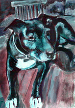 Load image into Gallery viewer, Staffordshire bull terrier dog painting print, staffie Portrait, blue Print of acrylic staffy dog painting, staffie lover gift dog picture - Dog portraits by Oscar Jetson