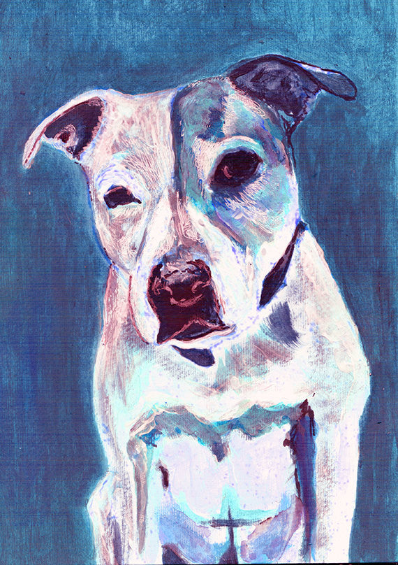 Staffordshire bull terrier ,dog wallart print, blue staffie Portrait, blue Print of acrylic staffy dog painting, staffie owner gift dog - Dog portraits by Oscar Jetson
