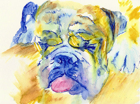 English Bulldog  Wall Art Print Yellow Blue dog watercolor bulldog illustration hand signed bulldog gift idea english bulldog wall art print - Dog portraits by Oscar Jetson
