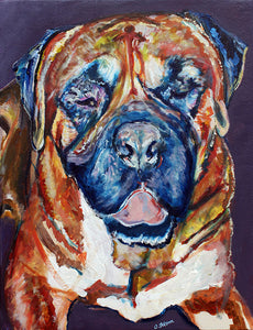 Bullmastiff owner gift, Bullmastiff Dog Painting, Dog Art print, Bullmastiff portrait, Bullmastiff art, Acrylic Bullmastiff painting print - Dog portraits by Oscar Jetson