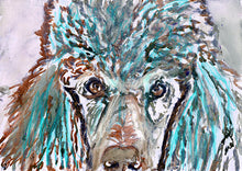 Load image into Gallery viewer, Poodle, Red and Aquamarine, watercolor, Show Poodle Art Print, dog watercolor, Poodle, Standard Poodle gift idea,Poodle wall art print - Dog portraits by Oscar Jetson