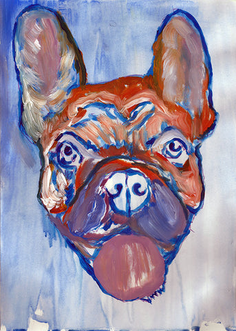 French Bulldog, modern, Art Print , Frenchie Dog, French bulldog gift idea, French bull, painting art print, frogdog watercolor art print. - Dog portraits by Oscar Jetson