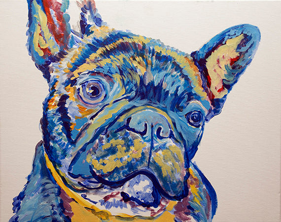 French Bulldog Dog Painting Blue, French Bulldog Print ,acrylic wall art Frenchie Dog Art french bulldog gift idea frenchy art print - Dog portraits by Oscar Jetson
