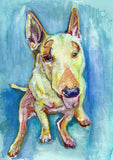 English Bull terrier Dog Painting, Art print, Dog portrait, English bull wall art, English Bull watercolor picture, bull terrier gift idea - Dog portraits by Oscar Jetson