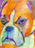 Orange Boxer Dog painting abstract wall art print in Orange Purple and lime green boxer dog print - Dog portraits and dog gifts
