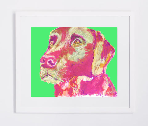 Labrador painting print Vivid Pink and bright Green lab dog gift labrador dog painting giclee print - Dog portraits by Oscar Jetson