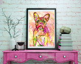 French bulldog art print Pink Green Yellow watercolor painting french bull art print - Dog portraits by Oscar Jetson