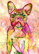 Load image into Gallery viewer, French bulldog art print Pink Green Yellow watercolor painting french bull art print - Dog portraits by Oscar Jetson
