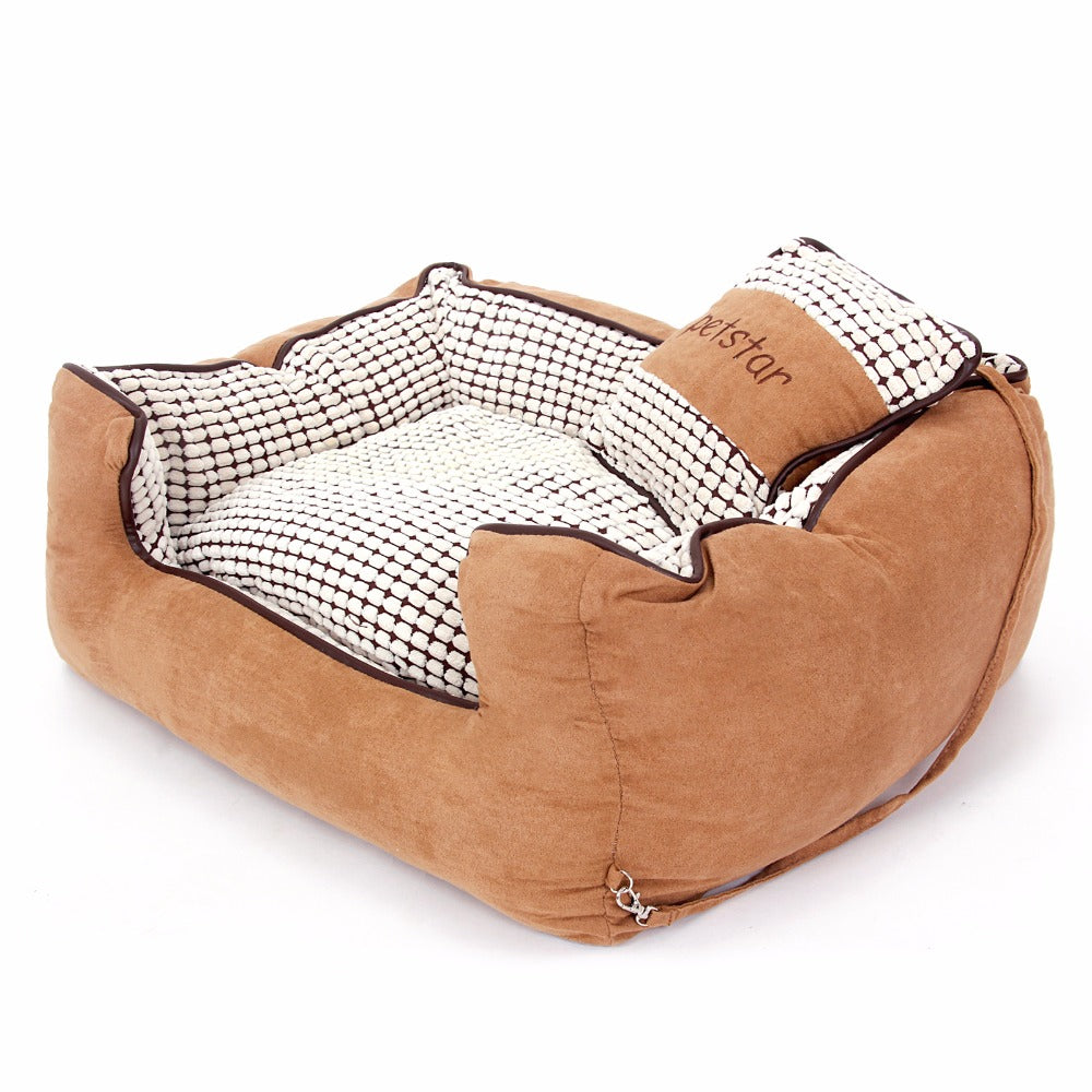 Winter Warmer Dog Bed Luxury Soft Kennel alternative -  Warm Dog House With Cushion - Chew Resistant with Detachable Bedding - Dog portraits by Oscar Jetson