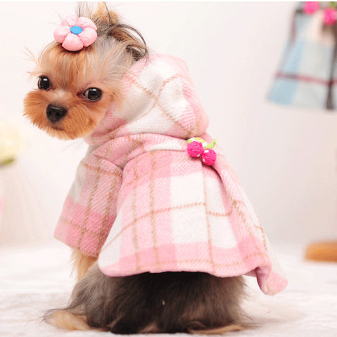 Winter Dog Clothes Luxury Wool Plaid Dog Coat Pet Clothes Pink Warm Dog Jacket Small Medium Autumn Dog Clothing Yorkie, Chihuahua, Small dog