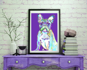 French bulldog art print Purple and aqua marine frenchie watercolor print - Dog portraits by Oscar Jetson