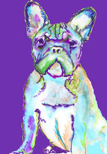 Load image into Gallery viewer, French bulldog art print Purple and aqua marine frenchie watercolor print - Dog portraits by Oscar Jetson