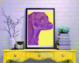 Labrador art print Deep purple and bright Yellow lab dog gift labrador dog painting art print - Dog portraits by Oscar Jetson
