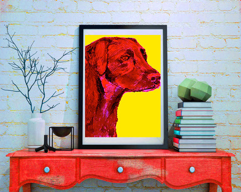 Labrador art print Cherry Red and Sicillian Yellow lab dog gift labrador dog art print - Dog portraits by Oscar Jetson