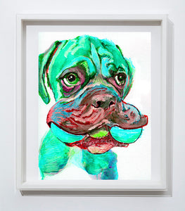 Boxer Dog with toy painting wall art print in Aquamarine boxer dog art print - Dog portraits by Oscar Jetson