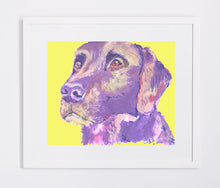 Load image into Gallery viewer, Labrador painting print Violet and Lemon Yellow lab dog gift labrador dog painting art print - Dog portraits by Oscar Jetson
